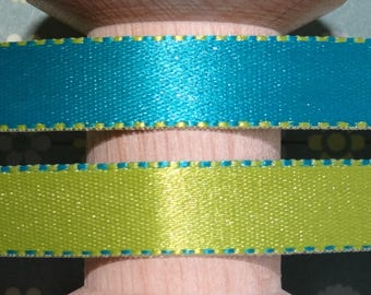 Turquoise and lime green satin ribbon - reversible.