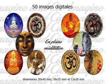 50 digital images for cabochons, scrapbooking, 30 x 40 oval jewelry, 18 x 25, 13 x 18 mm themed Buddhism (Buddha)