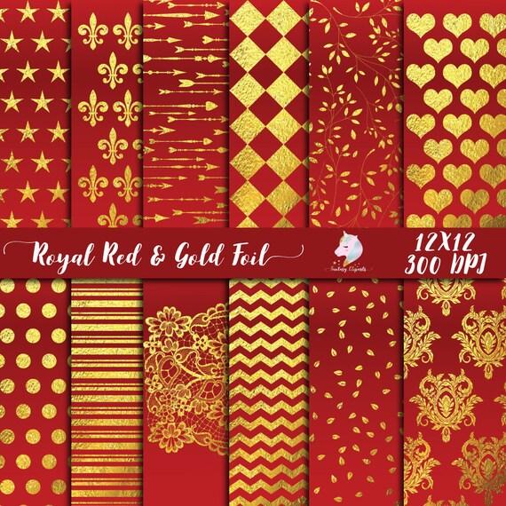 Royal Red Paper Pack Digital Paper Gold Foil Pattern Scrapbook