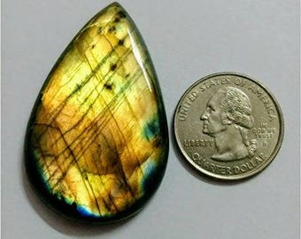 49.55x31.50mm,Pear/Tear drop Labradorite Cobochon/Golden Flash/wire wrap stone/Super Shiny/Pendant Cabochon/SemiPrecious Gemstone/silverJewl