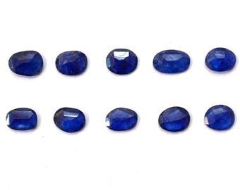 BLUE SAPPHIRE Natural Blue Sapphire Polki Rose Cut Polki Both Side Faceted 7mm to 10mm (Approx) Price per 1 piece