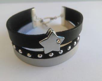 Black/grey suedine Cuff Bracelet