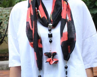 Tradional Handmade Turkish Scarf Necklace , Fashion Bohemian Boho Scarf, Authentic Necklace with stone, Wrap Scarf, Ethnic Jewelry scarf