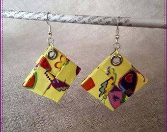 Earrings-pierced multicolor on yellow background