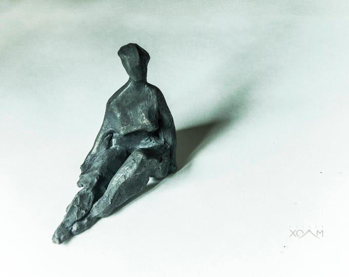 Ceramic Woman, Sculpture Raku, black Sculpture, Ceramic Sculpture, Unique Ceramic Figurine