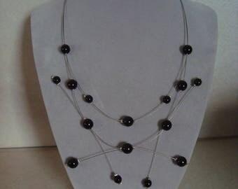 Original necklace beads black glass