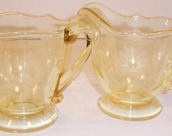 Lancaster Glass Company Yellow Jubilee Creamer and Sugar Bowl