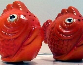 Ceramic Goldfish Salt and Pepper Shakers - Made in Japan