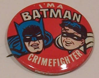 I'm A Batman Crimefighter Pinback Pin - 1966