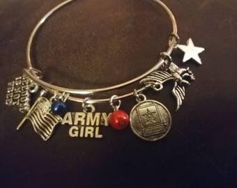 Military - Army Girl -US Army Adjustable Bangle Charm Bracelet Silver