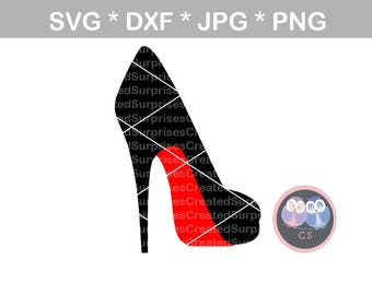 High heel, pump, stiletto, red, svg, dxf, png, jpg digital cut file for cutting machines, personal, commercial, Silhouette Cameo, Cricut