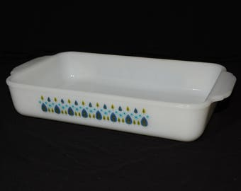 Vintage, Rectangular,Casserole Dish, Glass,Baking Dish, Milk Glass,Oven Safe,Blue and Green Trees,Leaves Pattern, 1.5 QT, rare, blue floral