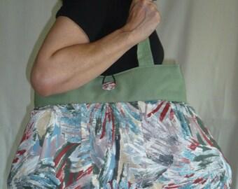 Bag reversible Carine green and gray