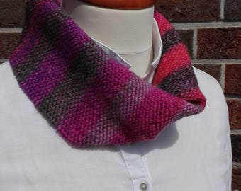 Loop, circle scarf, hand-woven, handmade, pink, anthracite, pure new wool