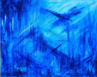 "Monochrome painting on canvas - ""Blue Abstraction""."
