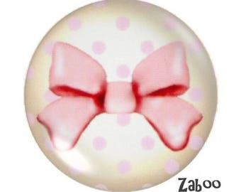 1 cabochon 30mm glass, I'm an Angel, cream and pink