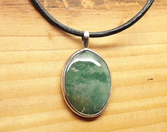 Blue Green Moss Agate Necklace/Sterling Silver Agate Pendant Sliding Leather Choker/Handmade/Vintage/Free Shipping US/Gift for him or her
