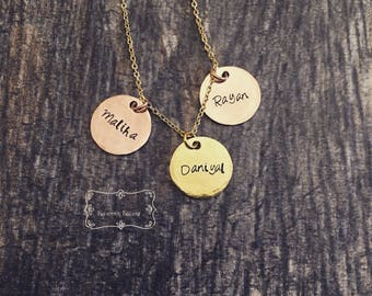 Hand-Stamped Name Mixed Metal Disc Necklace| Personalized Hammered Silver Bronze Rose Gold Gold Disc Necklace|