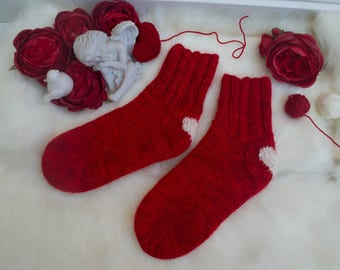 Handmade knitted socks. Original design with hearts. These socks will be the best present for holidays and celebrations  for a woman!