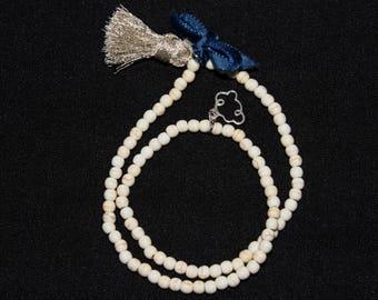 Women turquoise Bead Bracelet silver charm 925 Silver tassel silver