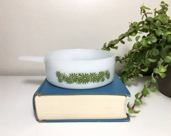 Vintage Green Flower Milk Glass Soup Dish