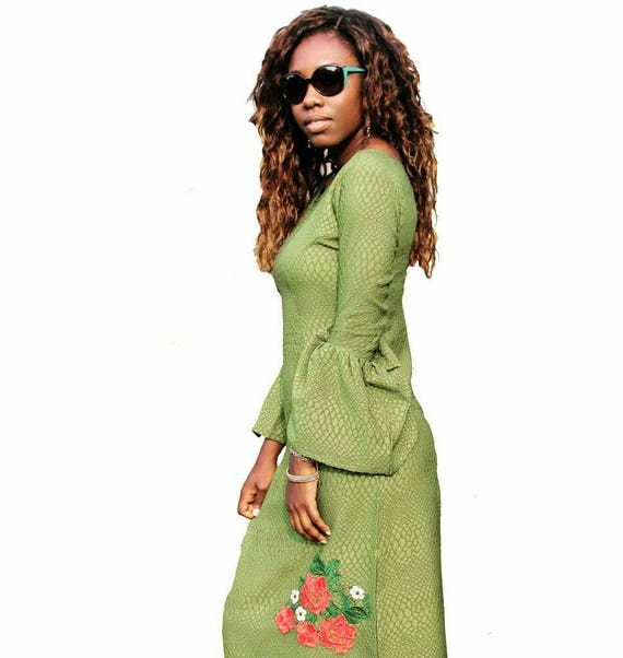 Green Bell Sleeves Pencil Dress with Handstitched Lace Applique detail