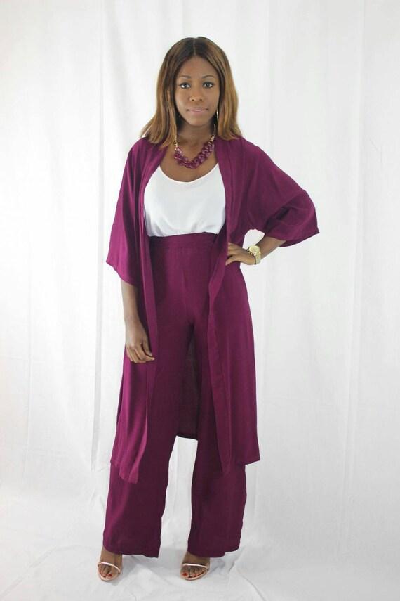 Betty Plum Wine Women's  Kimono Trouser Pant Suit