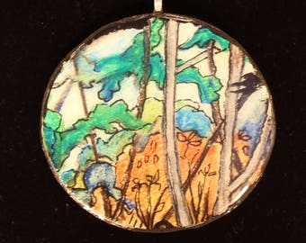 I love trees/cedar/painting/watercolor painting/original/one of a kind/Pendant/ribbon/choker/