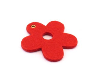 Felt red flower pattern
