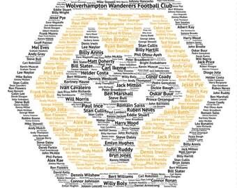 Wolverhampton Wanderers F.C. Typography Word Art A4 Print, Football, Poster