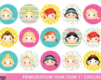 "50% SALE PRINCESS tsum tsum Bottle Cap, Princess tsum tsum, princess, Image Party, Circles Birthday Party, 1"" circule,  Printable"