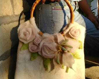 felted bag,handmade,wool,bag with white roses,flowers,felted flowers,