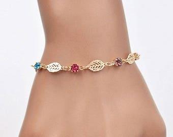 x 1 rhinestone/leaves 16 cm goldtone metal chain bracelet
