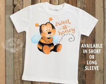 Sweet as Honey Bee Kids Shirt, Funny Kids Shirt, Cute Kids Tee, Honeybee Kids Shirt, Cute Kids Tee, Boho Kids Shirt - T362S