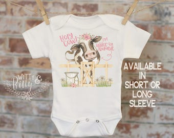Cute Cow Onesie, Holy Cow I'm Udder-ly Adorable, Farm Animal Outfit, Cute Baby Bodysuit, Boho Baby Clothes, Baby Shower Gift - 366H
