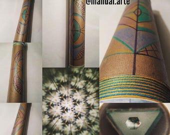 Handmade kaleidoscope, double-view, 30 cm, mandala