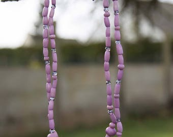 Dyed bone and Czech Crystal beads necklace