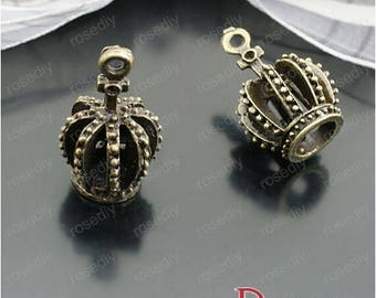 10 charms in bronze 22 * 13MM D27213 Imperial Crown