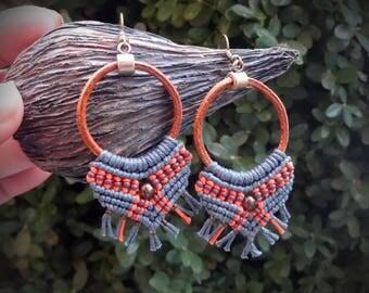 macrame earrings, leather earrings, gipsy boho style, cotton earrings, czech seed beads