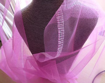 coupon tulle pink rigid 135 cm x 48
