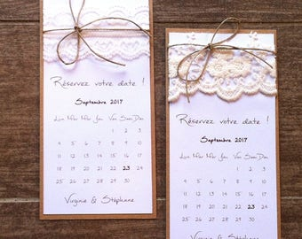 "Save the date / announcement ""calendar"" and lace wedding invitation"