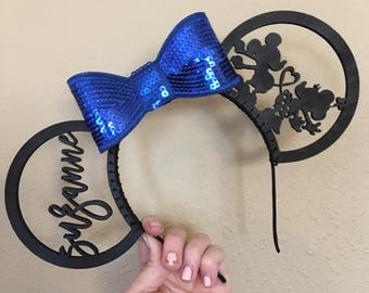 Custom Sequin Minnie Ears- Mickey and Minnie heart tails