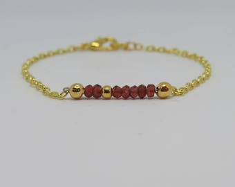 Garnet Bracelet, January Birthstone Bracelet, Gemstone Bracelet, Garnet Jewellery, Gemstone Stacking Bracelet, Gold Bracelet, Garnet Jewelry