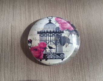 Cabochon - 30 mm - Bird Cage - white, pink and black