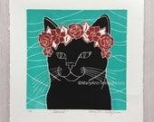 Cat Print, Black Cat Print, Cat Art Print, Black Cat Art Print, Cat Linocut Print, Cat Lino Cut Print