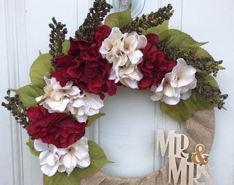 Mr. & Mrs. Monogram Bridal Shower/ Wedding Frontdoor Wreath
