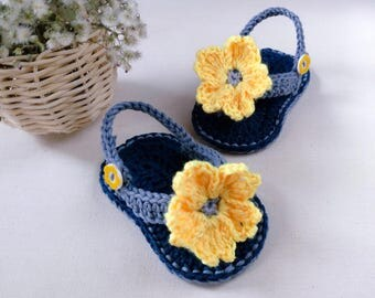 CROCHET PATTERN -  Yellow Blossom Baby Flip-Flops - Digital PDF file