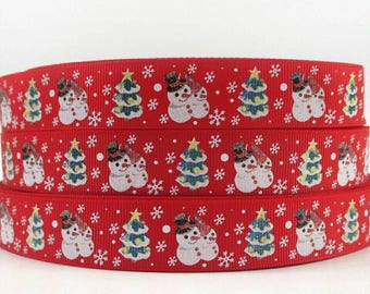 268 - Ribbon Christmas - grosgrain - 22 mm sold by 50 CM - Christmas ribbon.