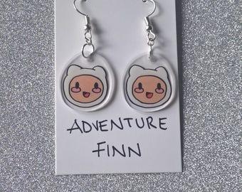 Adventure Finn,Kawaii Finn Earrings,Cute Finn Earrings,Adventure Time Finn Earrings,Adventure Time Earrings, Finn Earrings