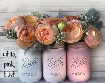 White, powder pink, blush pink painted mason jars- girl baby shower gift, baby decor, party decor, desk accessory, organization, night light